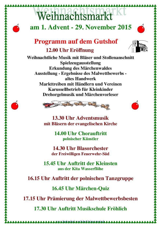 weihnachtsmarkt 2015 - programm, Einladungen